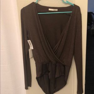 Long sleeve brown body suit